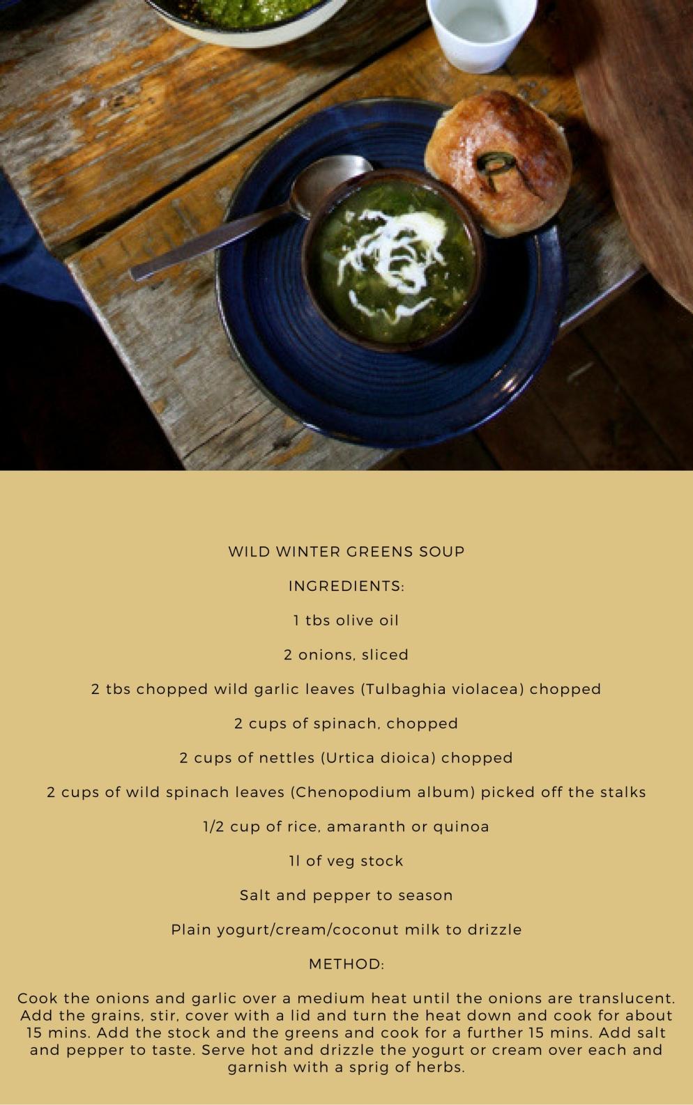 Wild Winter Greens Soup